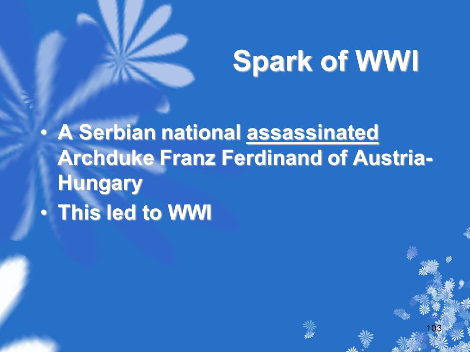 Spark of WWI A Serbian national assassinated Archduke Franz Ferdinand of Austria- HungaryA Serbian national assassinated Archduke Franz Ferdinand of Austria- Hungary This led to WWIThis led to WWI 103