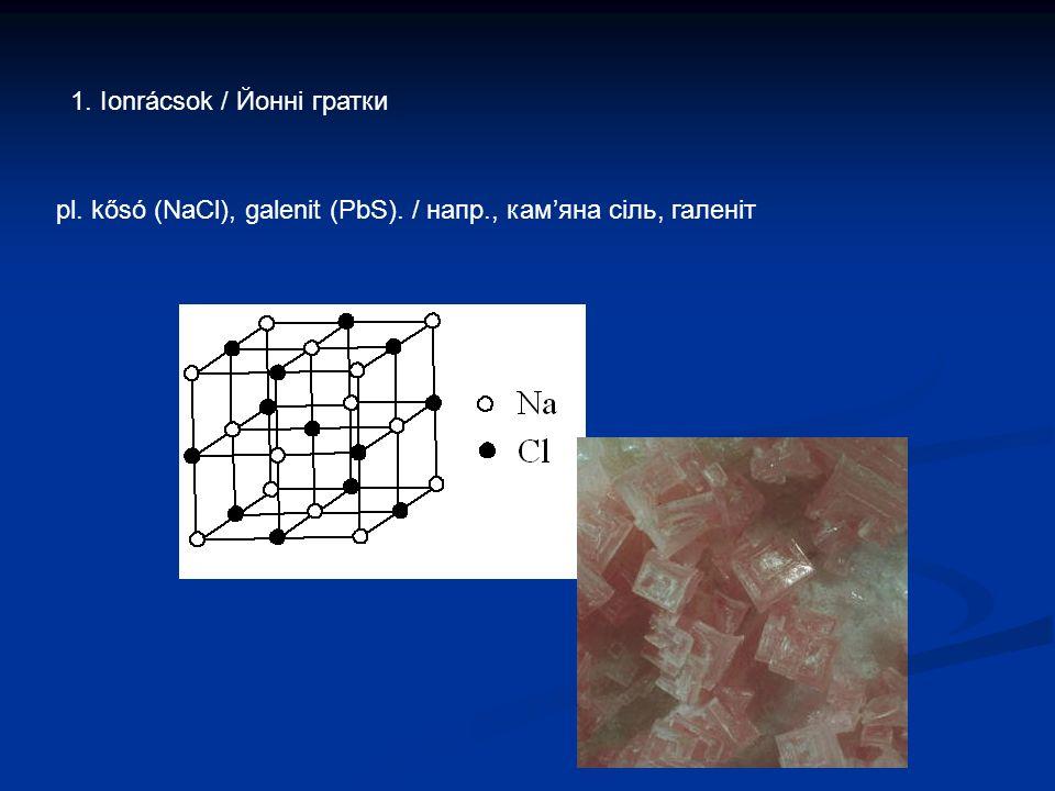1. Ionrácsok / Йонні гратки pl. kősó (NaCl), galenit (PbS). / напр., кам'яна сіль, галеніт