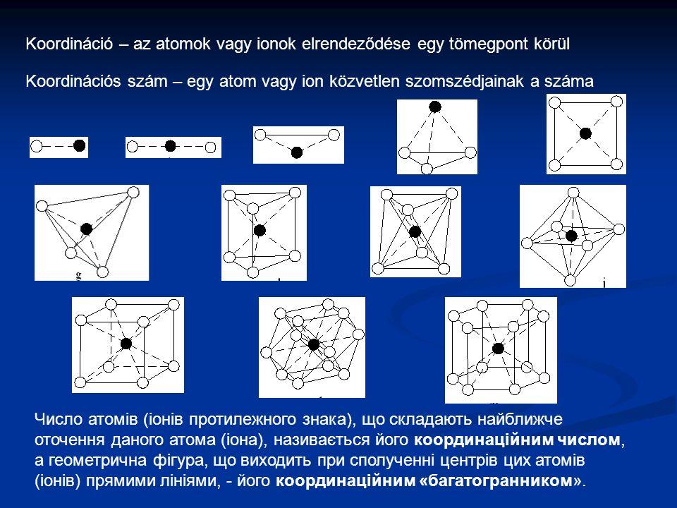 Koordináció – az atomok vagy ionok elrendeződése egy tömegpont körül Koordinációs szám – egy atom vagy ion közvetlen szomszédjainak a száma Число атомів (іонів протилежного знака), що складають найближче оточення даного атома (іона), називається його координаційним числом, а геометрична фігура, що виходить при сполученні центрів цих атомів (іонів) прямими лініями, - його координаційним «багатогранником».