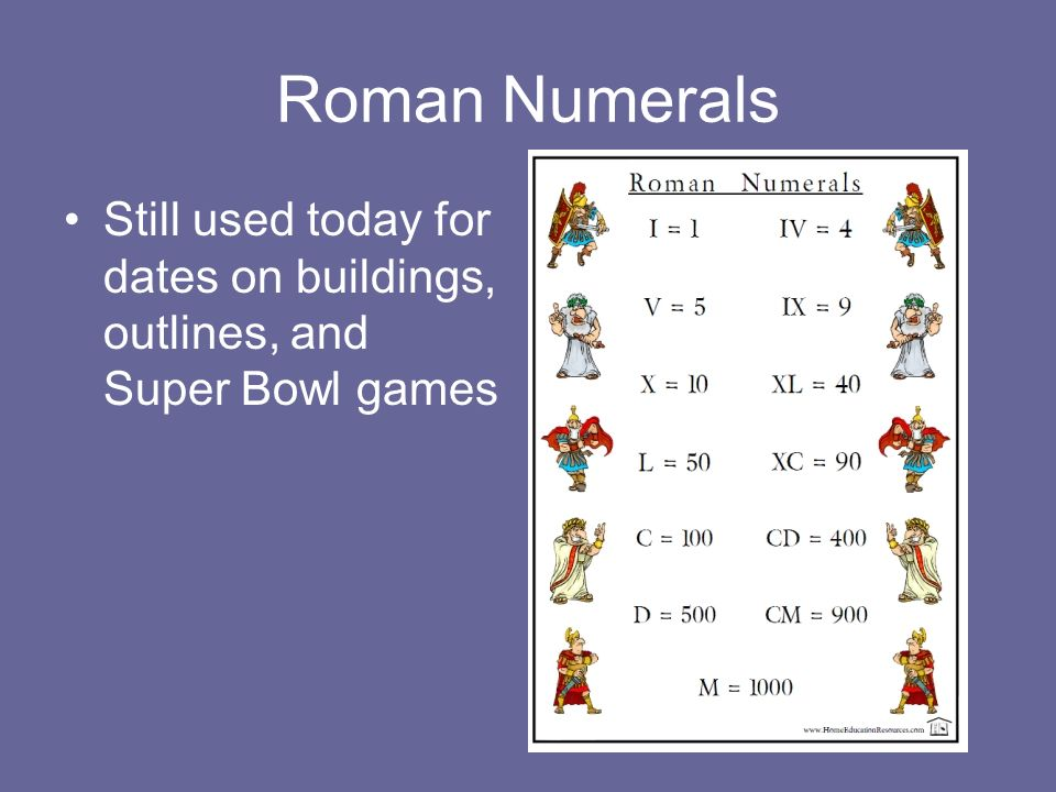 Roman Numerals Still used today for dates on buildings, outlines, and Super Bowl games
