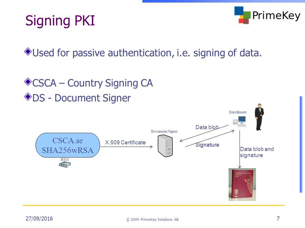 27092016 2009 primekey solutions ab 1 eac epassport pki 27092016 2009 primekey solutions ab 7 signing pki used for passive pooptronica