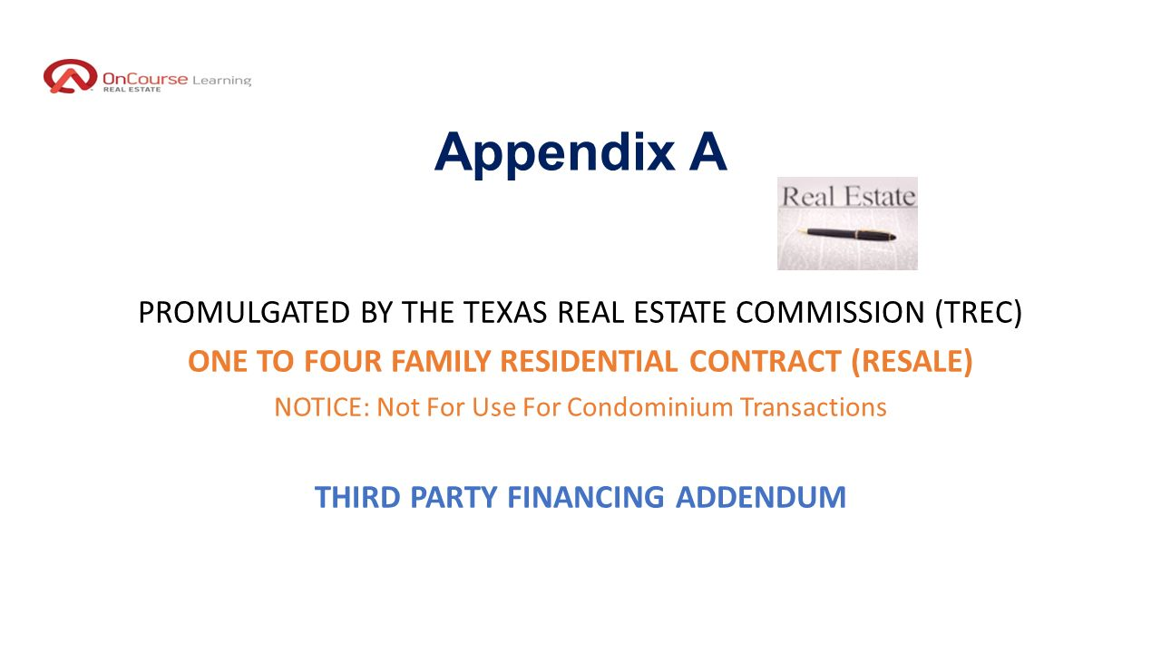 Texas legal update i 2016 legal update part ppt download 49 appendix a promulgated by the texas real estate commission trec one to four family residential contract resale notice not for use for condominium 1betcityfo Gallery
