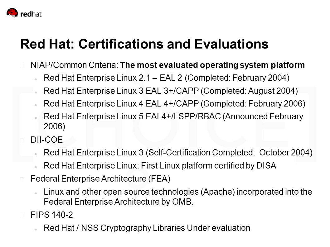 Red hat security daniel j walsh ppt download red hat certifications and evaluations niapcommon criteria the most evaluated operating system 1betcityfo Image collections