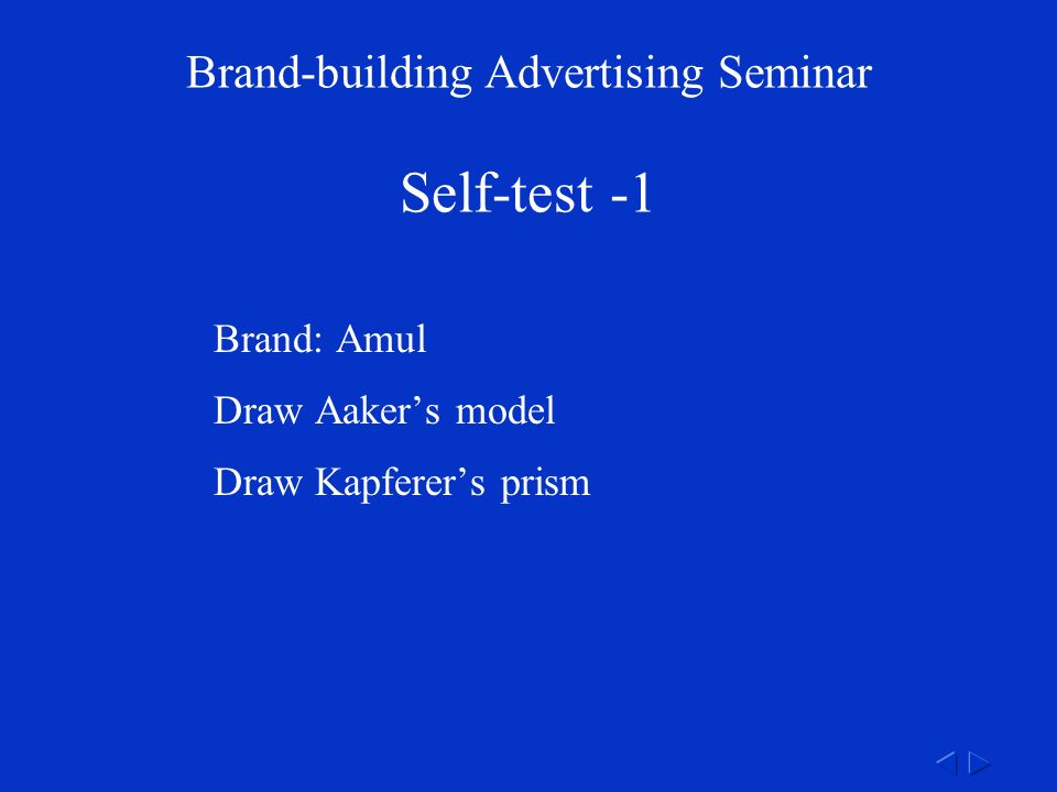 Brand-building Advertising Seminar Self-test -1 Brand: Amul Draw Aaker's model Draw Kapferer's prism