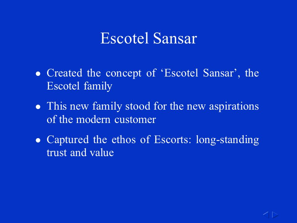 Escotel Sansar Created the concept of 'Escotel Sansar', the Escotel family This new family stood for the new aspirations of the modern customer Captured the ethos of Escorts: long-standing trust and value