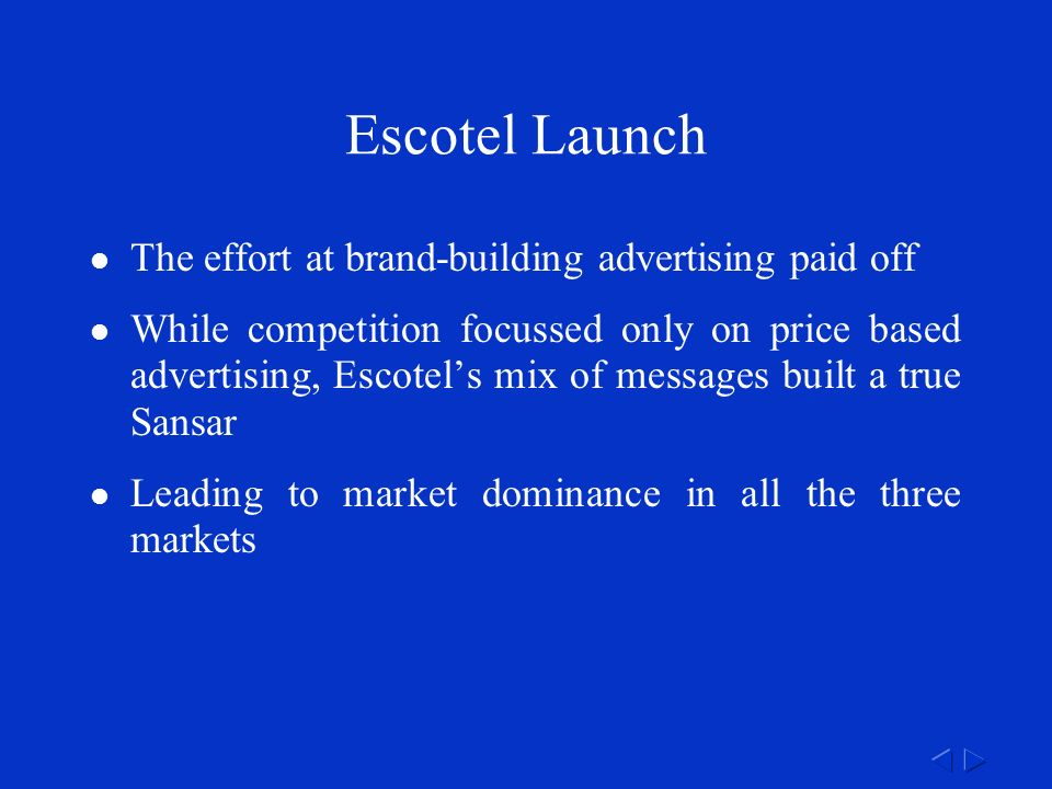 Escotel Launch The effort at brand-building advertising paid off While competition focussed only on price based advertising, Escotel's mix of messages built a true Sansar Leading to market dominance in all the three markets