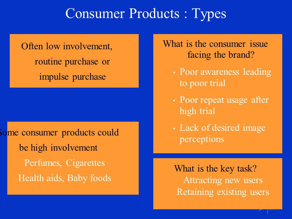 Some consumer products could be high involvement Perfumes, Cigarettes Health aids, Baby foods Consumer Products : Types Often low involvement, routine purchase or impulse purchase What is the consumer issue facing the brand.