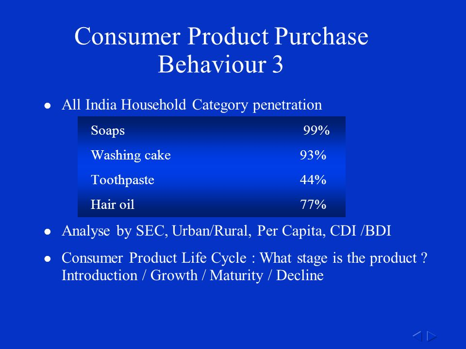 Consumer Product Purchase Behaviour 3 All India Household Category penetration Soaps 99% Washing cake93% Toothpaste44% Hair oil77% Analyse by SEC, Urban/Rural, Per Capita, CDI /BDI Consumer Product Life Cycle : What stage is the product .
