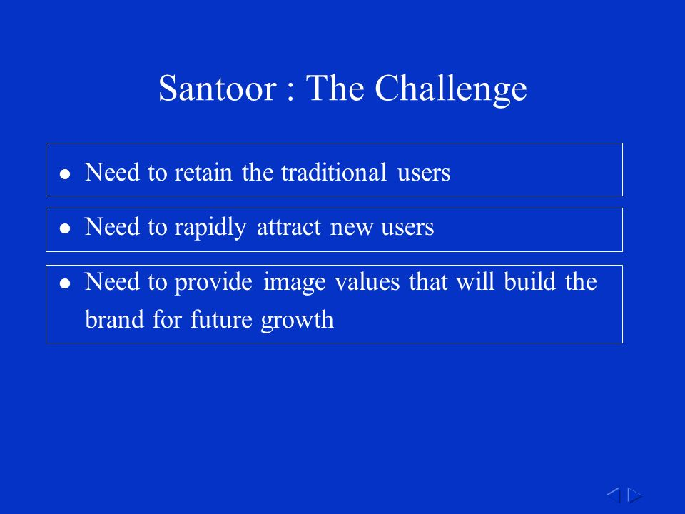 Santoor : The Challenge Need to retain the traditional users Need to rapidly attract new users Need to provide image values that will build the brand for future growth