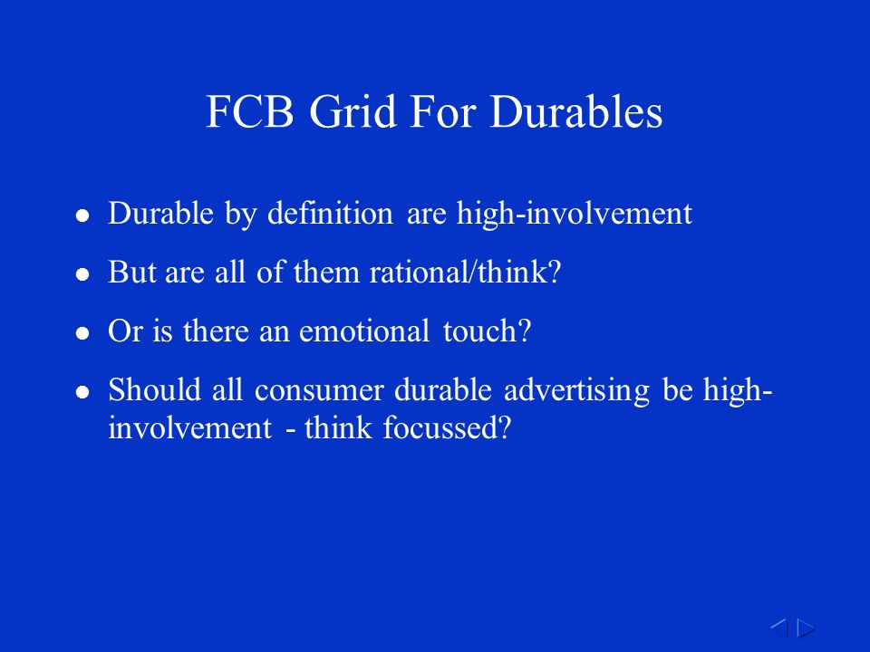 FCB Grid For Durables Durable by definition are high-involvement But are all of them rational/think.