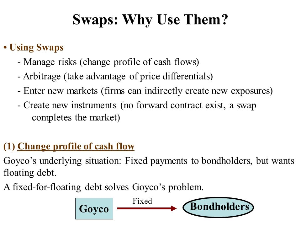 Using Swaps - Manage risks (change profile of cash flows) - Arbitrage (take advantage of price differentials) - Enter new markets (firms can indirectly create new exposures) - Create new instruments (no forward contract exist, a swap completes the market) (1) Change profile of cash flow Goyco's underlying situation: Fixed payments to bondholders, but wants floating debt.