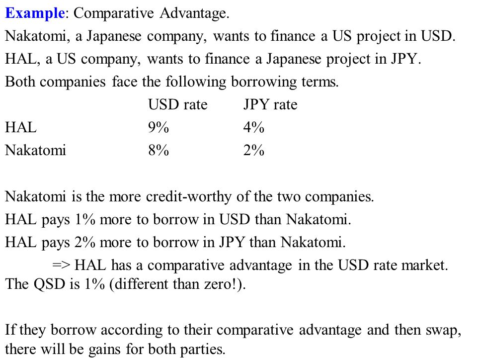 Example: Comparative Advantage. Nakatomi, a Japanese company, wants to finance a US project in USD.
