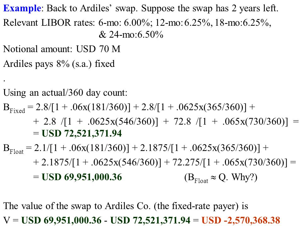 Example: Back to Ardiles' swap. Suppose the swap has 2 years left.