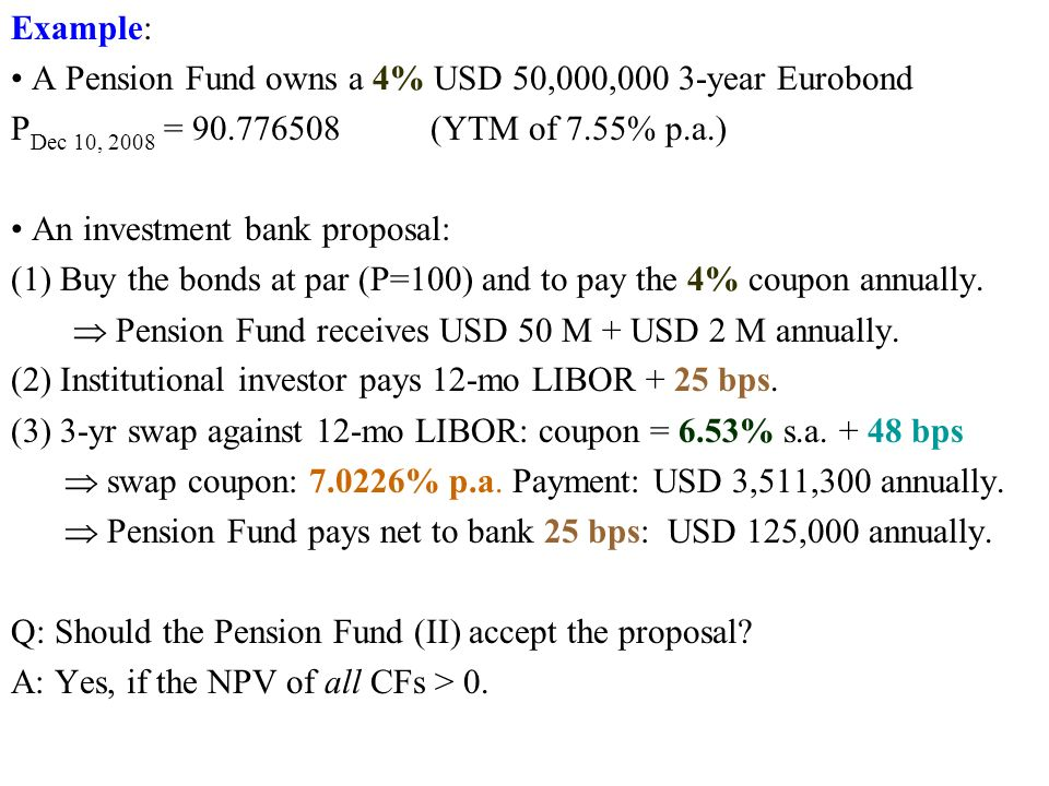 Example: A Pension Fund owns a 4% USD 50,000,000 3-year Eurobond P Dec 10, 2008 = 90.776508 (YTM of 7.55% p.a.) An investment bank proposal: (1) Buy the bonds at par (P=100) and to pay the 4% coupon annually.