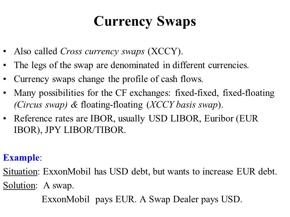 Currency Swaps Also called Cross currency swaps (XCCY).