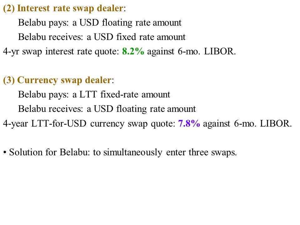 (2) Interest rate swap dealer: Belabu pays: a USD floating rate amount Belabu receives: a USD fixed rate amount 4-yr swap interest rate quote: 8.2% against 6-mo.