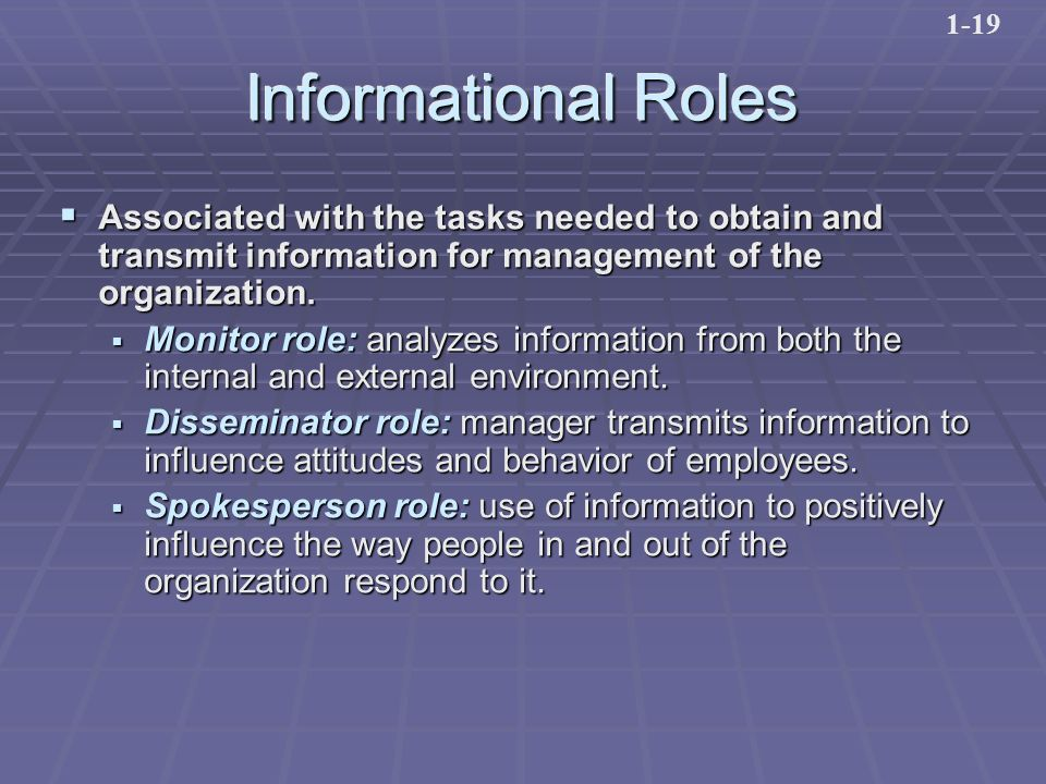Informational Roles  Associated with the tasks needed to obtain and transmit information for management of the organization.