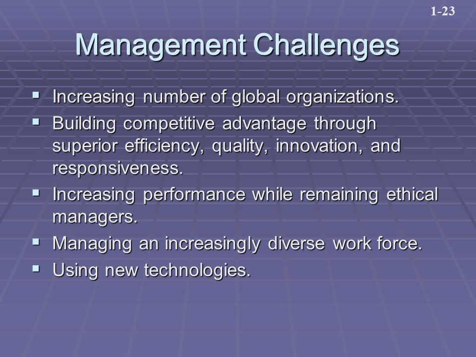 Management Challenges  Increasing number of global organizations.