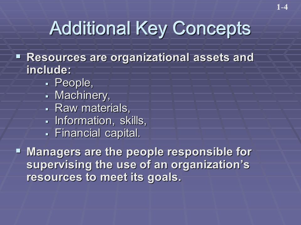 Additional Key Concepts  Resources are organizational assets and include:  People,  Machinery,  Raw materials,  Information, skills,  Financial capital.