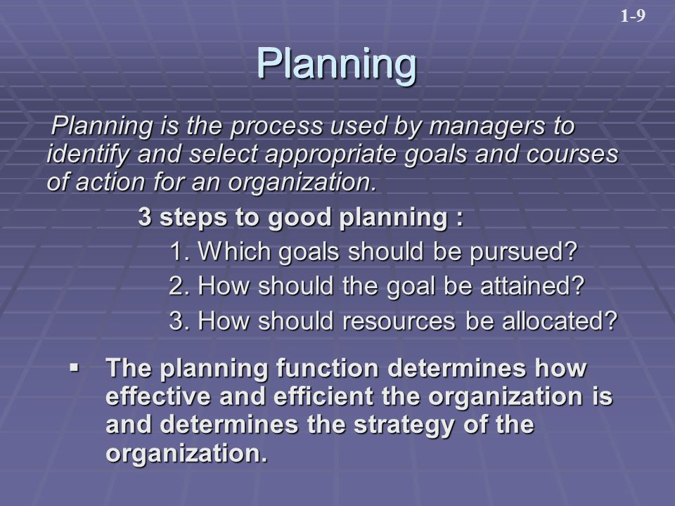 PlanningPlanning Planning is the process used by managers to identify and select appropriate goals and courses of action for an organization.