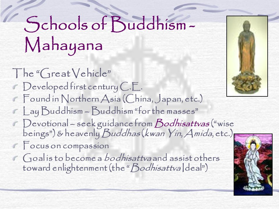 Schools of Buddhism - Mahayana The Great Vehicle Developed first century C.E.