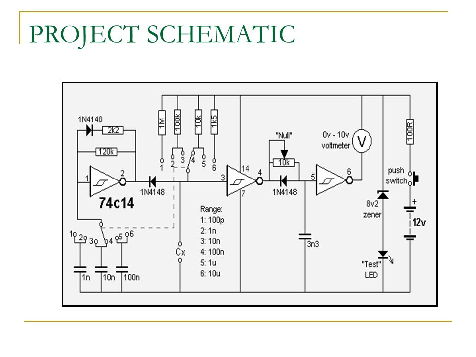 CAPACITANCE METER Tests capacitors from 1p to 10u, in 6 ranges ...