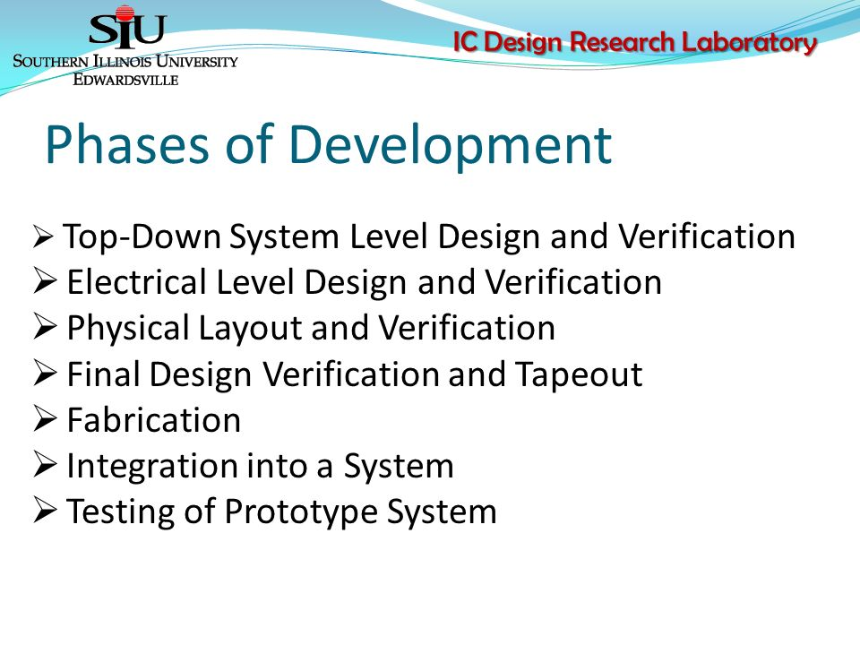 Ic design research laboratory dr george l engel department of 6 ic design research laboratory phases of development top down system sciox Choice Image