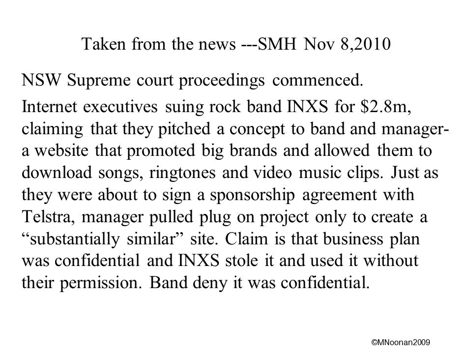 ©MNoonan2009 Taken from the news ---SMH Nov 8,2010 NSW Supreme court proceedings commenced.