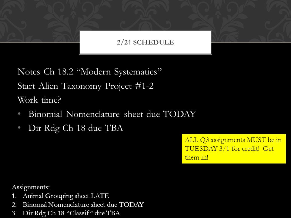 Notes Ch 18.2 Modern Systematics Start Alien Taxonomy Project #1-2 Work time.