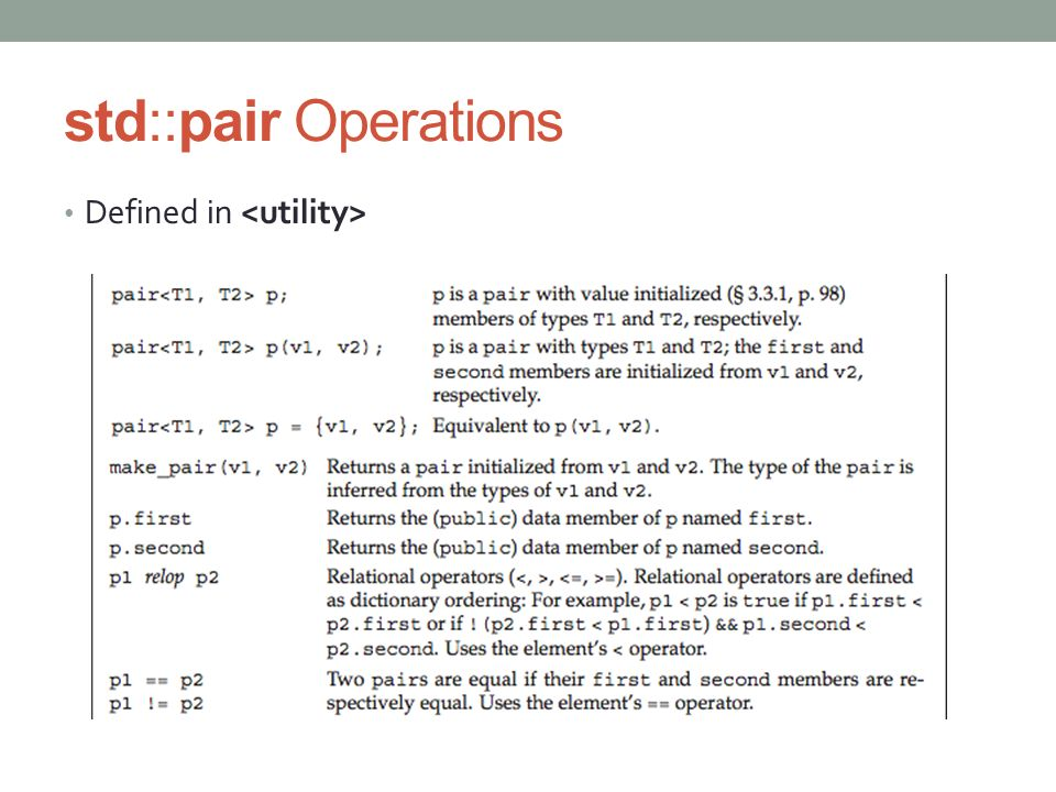 std::pair Operations Defined in