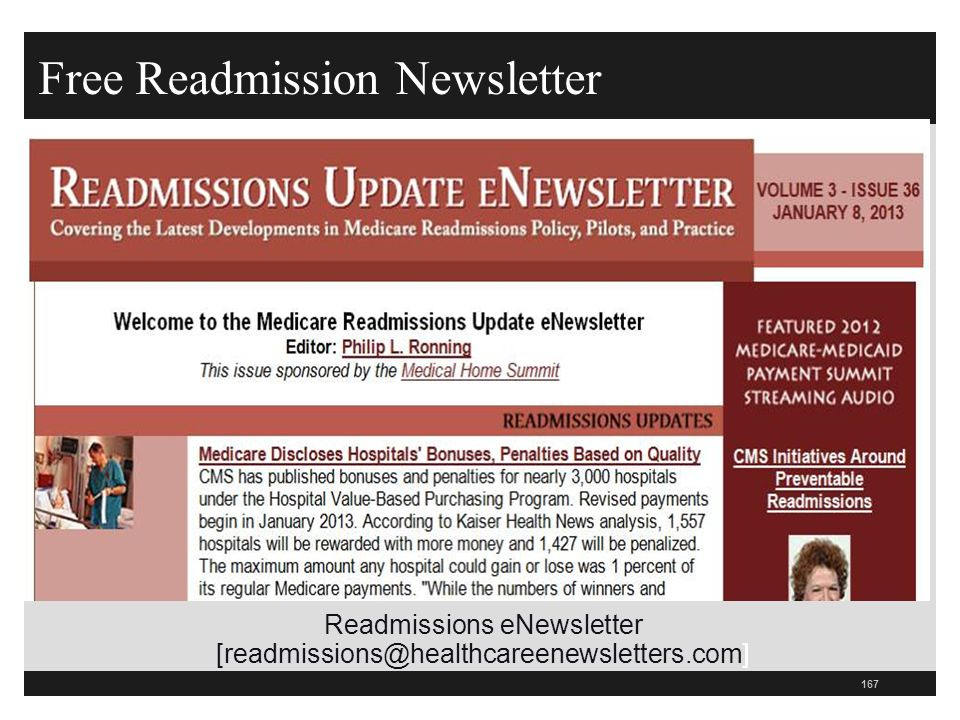 Free Readmission Newsletter 167 Readmissions eNewsletter