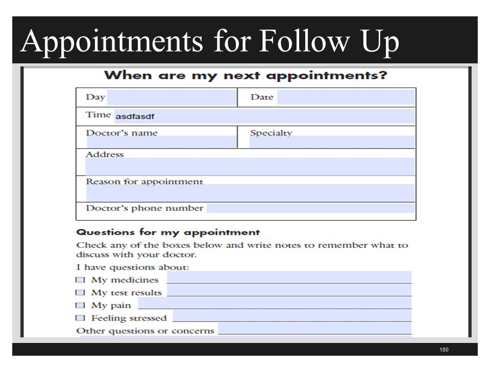 Appointments for Follow Up 180