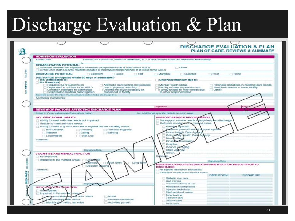 Discharge Evaluation & Plan 33