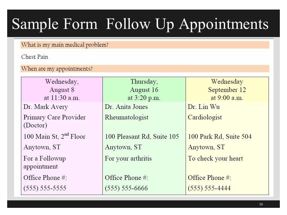 Sample Form Follow Up Appointments 39