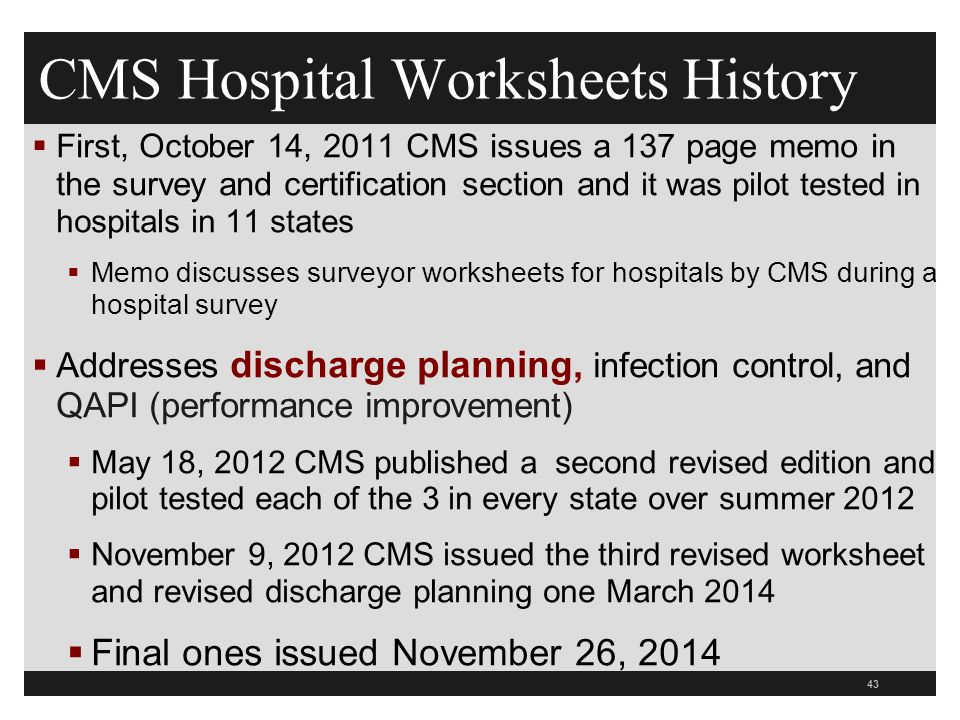 CMS Hospital Worksheets History  First, October 14, 2011 CMS issues a 137 page memo in the survey and certification section and it was pilot tested in hospitals in 11 states  Memo discusses surveyor worksheets for hospitals by CMS during a hospital survey  Addresses discharge planning, infection control, and QAPI (performance improvement)  May 18, 2012 CMS published a second revised edition and pilot tested each of the 3 in every state over summer 2012  November 9, 2012 CMS issued the third revised worksheet and revised discharge planning one March 2014  Final ones issued November 26,