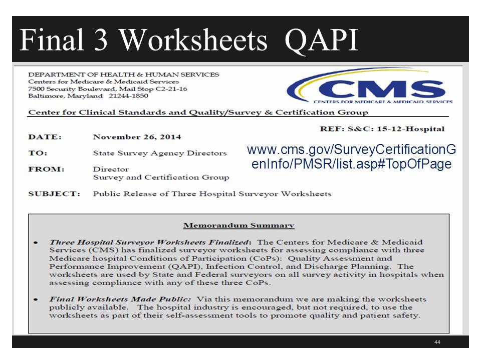 Final 3 Worksheets QAPI 44 www.cms.gov/SurveyCertificationG enInfo/PMSR/list.asp#TopOfPage