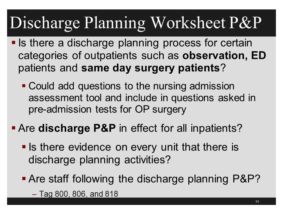 Discharge Planning Worksheet P&P  Is there a discharge planning process for certain categories of outpatients such as observation, ED patients and same day surgery patients.