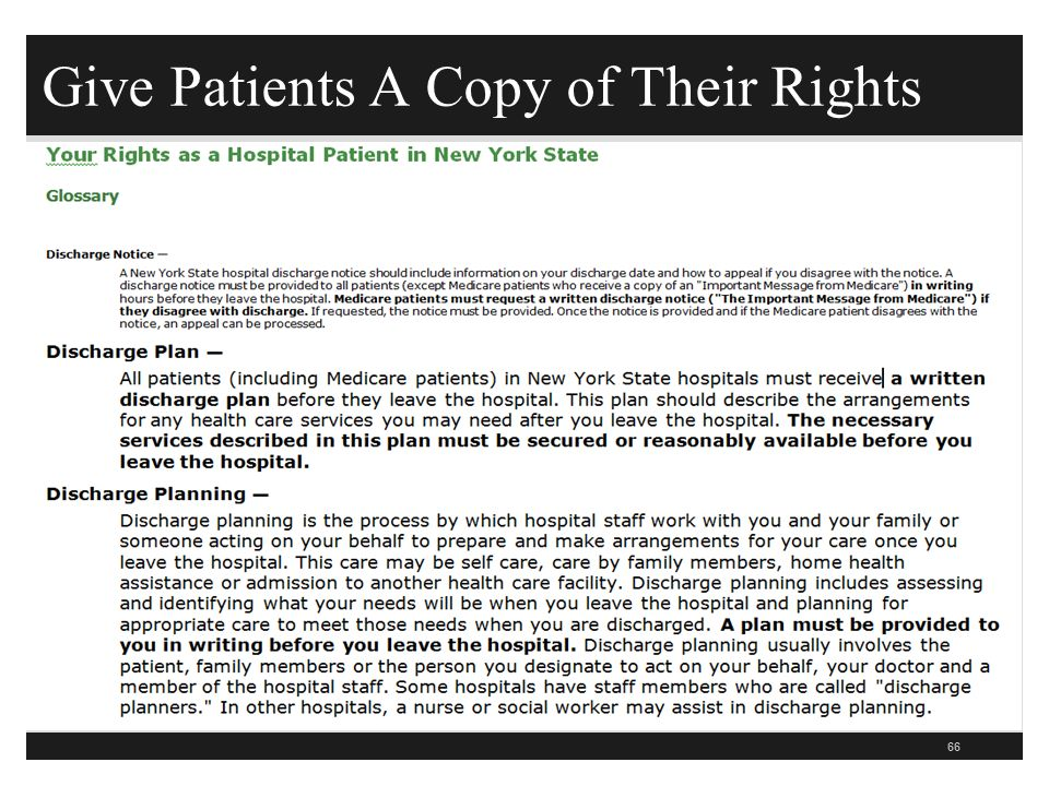 Give Patients A Copy of Their Rights 66