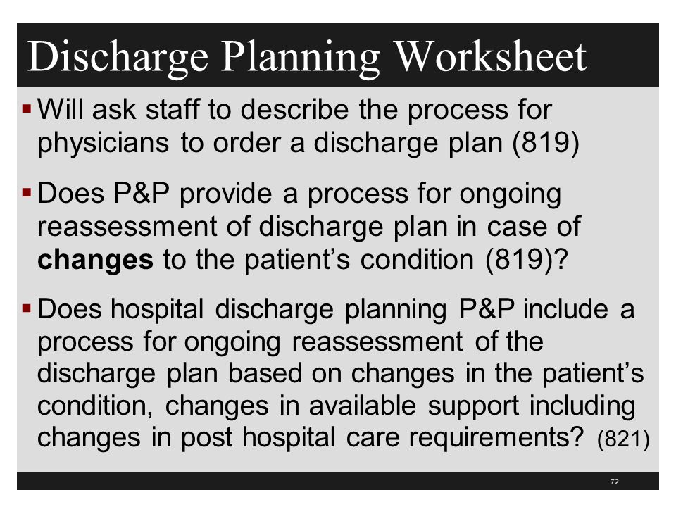 Discharge Planning Worksheet  Will ask staff to describe the process for physicians to order a discharge plan (819)  Does P&P provide a process for ongoing reassessment of discharge plan in case of changes to the patient's condition (819).