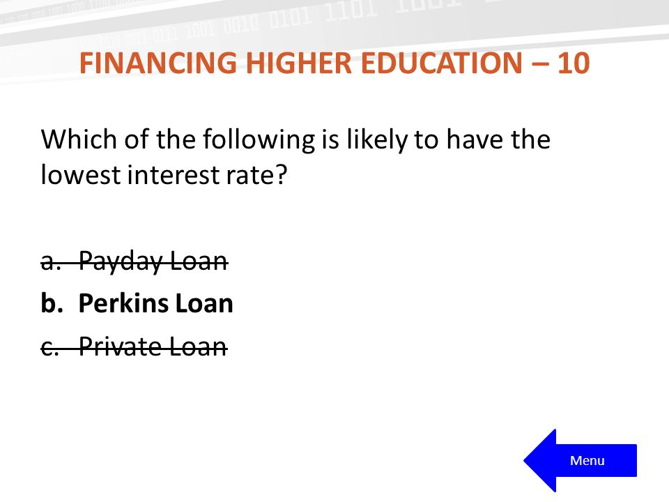 FINANCING HIGHER EDUCATION – 10 Which of the following is likely to have the lowest interest rate.