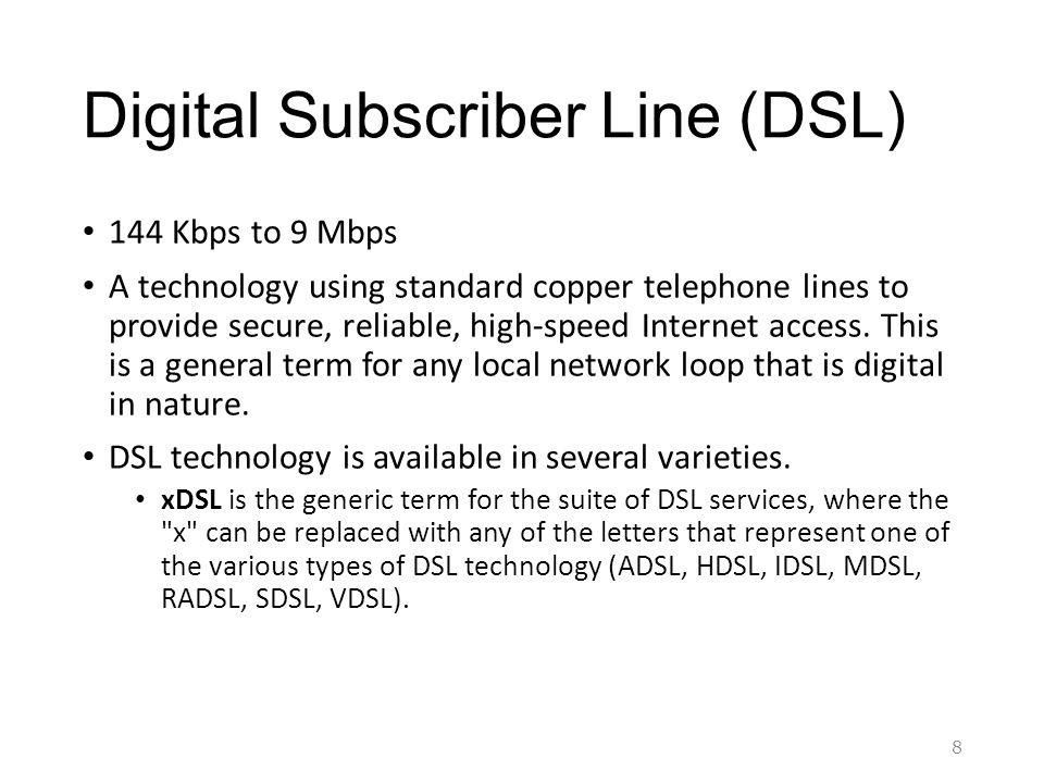 Digital Subscriber Line DSL 144 Kbps To 9 Mbps A Technology Using Standard Copper