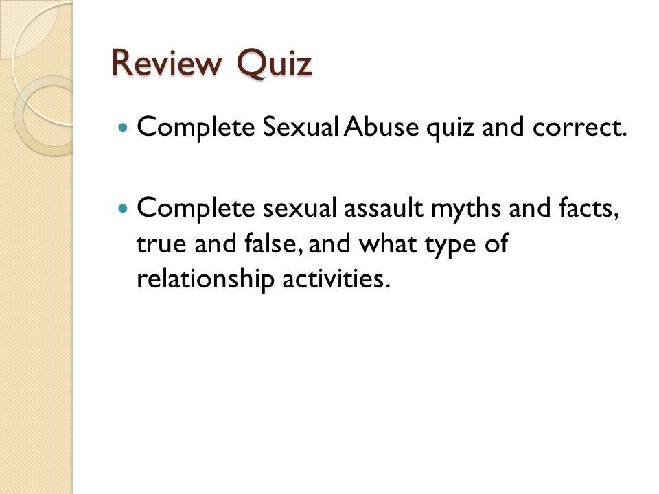 Quiz class activities sex myths