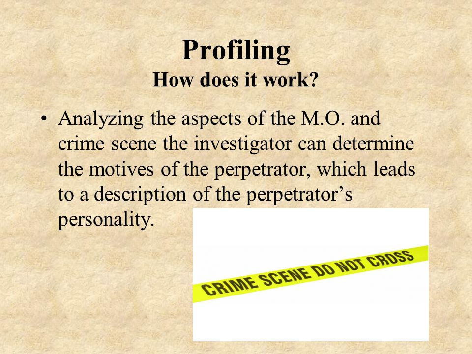 "criminology criminal profiling ""behavior reflects personality and  6 profiling"