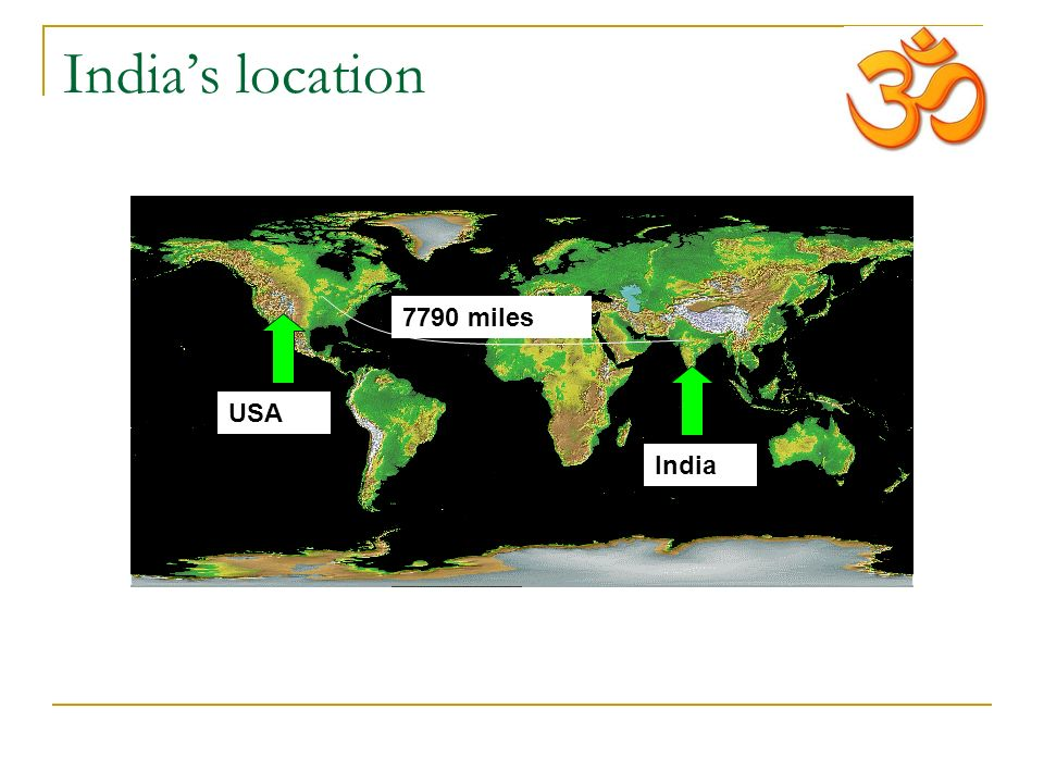 India's location India USA 7790 miles