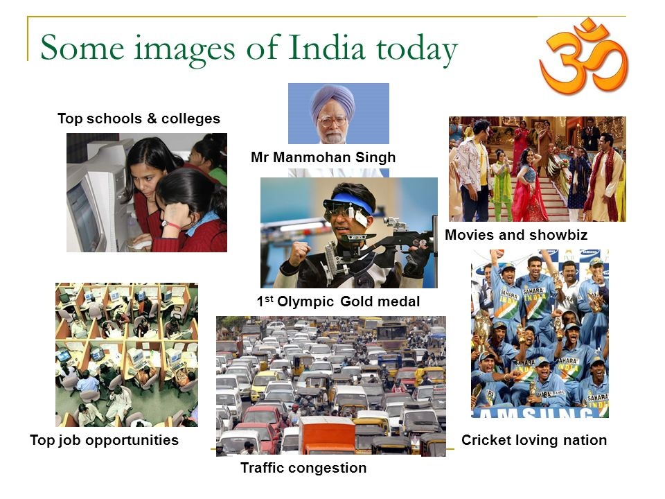 Some images of India today Top schools & colleges Mr Manmohan Singh 1 st Olympic Gold medal Top job opportunities Traffic congestion Cricket loving nation Movies and showbiz