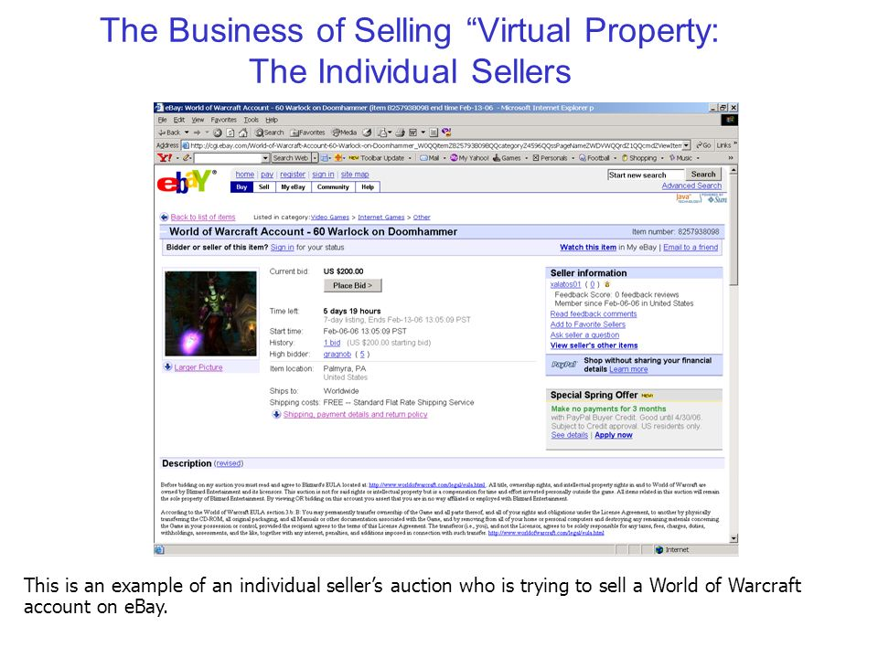 The Business of Selling Virtual Property: The Individual Sellers This is an example of an individual seller's auction who is trying to sell a World of Warcraft account on eBay.