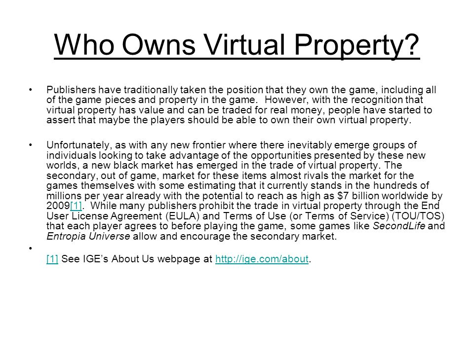 Who Owns Virtual Property.