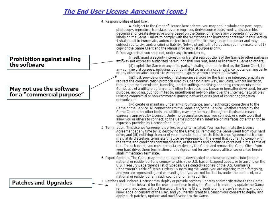 The End User License Agreement (cont.) 4. Responsibilities of End User.
