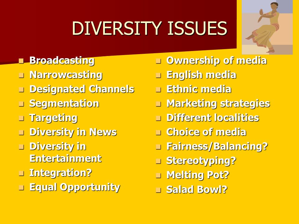 DIVERSITY ISSUES Broadcasting Broadcasting Narrowcasting Narrowcasting Designated Channels Designated Channels Segmentation Segmentation Targeting Targeting Diversity in News Diversity in News Diversity in Entertainment Diversity in Entertainment Integration.