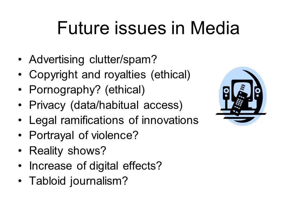 Future issues in Media Advertising clutter/spam. Copyright and royalties (ethical) Pornography.